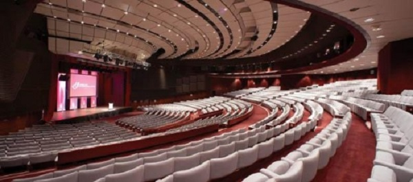 Harrogate International Venue Hire HG1- Conference room with tiered theatre seating