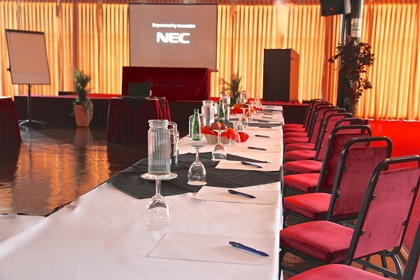 Inn on the Lake Venue Hire DA12- Boardroom set out with water and notebooks
