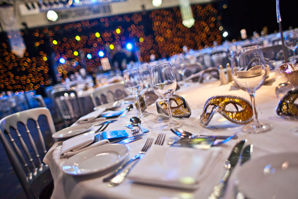 Ponds Forge Venue Hire S1- tables set out for a christmas masquerade ball