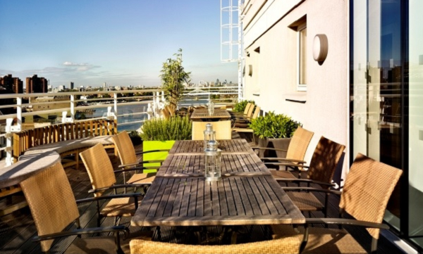 Wyndham Grand Hotel Summer Party SW10-Roof terrace set out for summer party drinks over looking the Thames