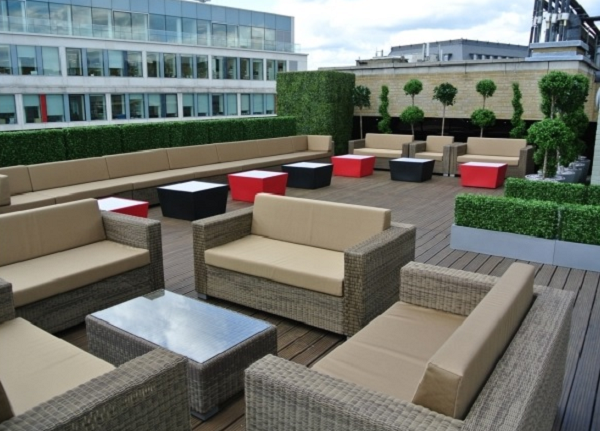 GCR Roof Terrace Summer Party WC2- Seating area set out for a summer party