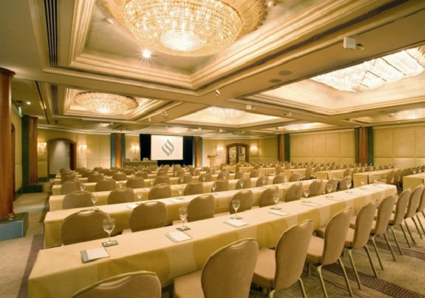 Jumeirah Carlton Conference Venue SW1- Large board meeting taking place in the main function room