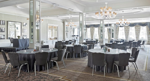 Richmond Hill Hotel TW1- Main ballroom set out for a summer party