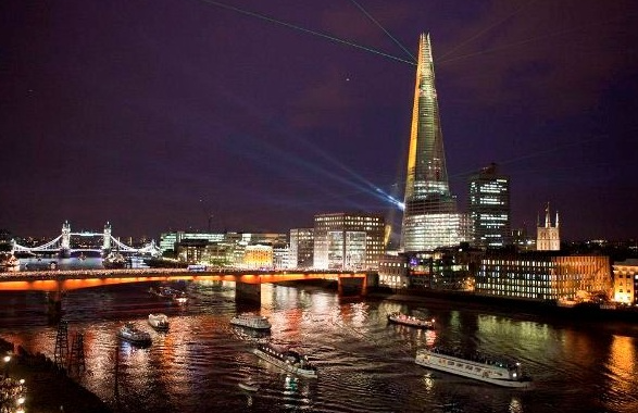 Cannon Bridge Roof Garden Summer Party EC4- Venue by night with the view of the Thames and the Shard