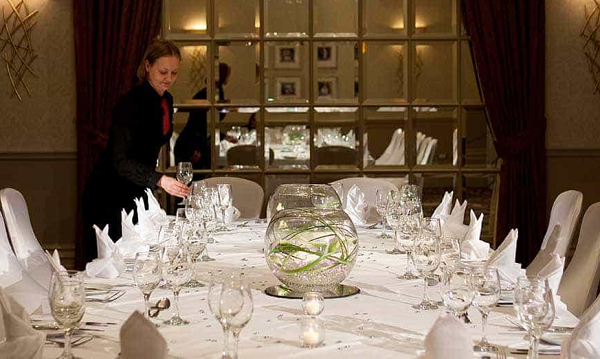 Hendon Hall Hotel Venue Hire NW4- Dining room set out for a luncheon