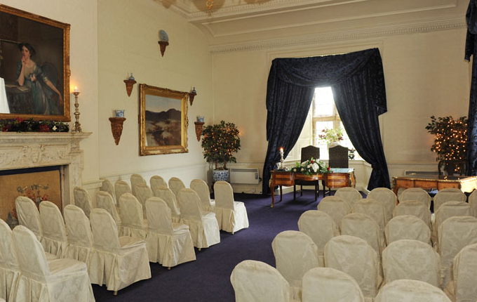 Lumley Castle Venue Hire DH3- Function room set out for a Wedding ceremony