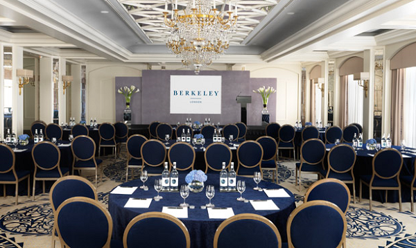 Berkeley Conference Venue SW1X- Ballroom set out for a boardroom meeting