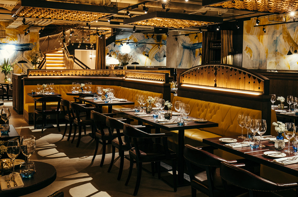 Kitty Hawk Venue Hire EC2M- Downstairs dining ready for evening dinner service