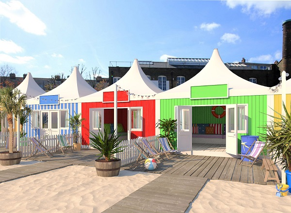 London City Beach Summer Party E1 pop up beach huts